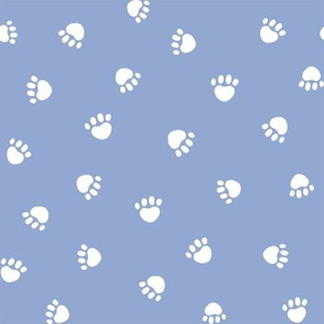 cerulean paw print fabric, pet fabric, dog fabric, cat fabric