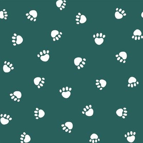 eden green paw print fabric, pet fabric, dog fabric, cat fabric