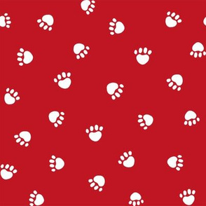 fire red paw print fabric, pet fabric, dog fabric, cat fabric