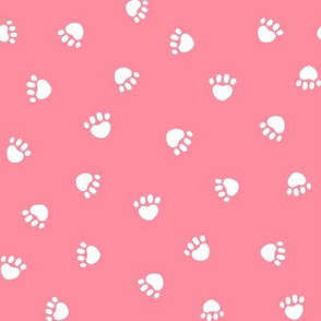 flamingo pink paw print fabric, pet fabric, dog fabric, cat fabric