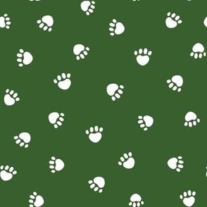 garden green paw print fabric, pet fabric, dog fabric, cat fabric