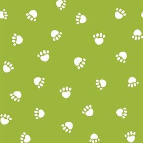 lime green paw print fabric, pet fabric, dog fabric, cat fabric