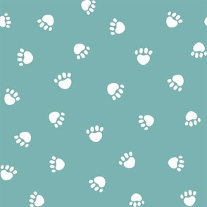 marine blue paw print fabric, pet fabric, dog fabric, cat fabric