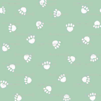 mist green paw print fabric, pet fabric, dog fabric, cat fabric