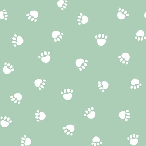 mist green paw print fabric, pet fabric, dog fabric, cat fabric fabric by petfriendly on Spoonflower - custom fabric