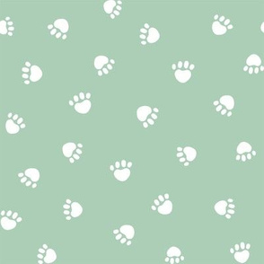 mist green paw print fabric, pet fabric, dog fabric, cat fabric