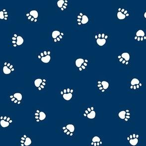 navy blue paw print fabric, pet fabric, dog fabric, cat fabric