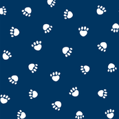 navy blue paw print fabric, pet fabric, dog fabric, cat fabric