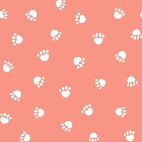 peach paw print fabric, pet fabric, dog fabric, cat fabric