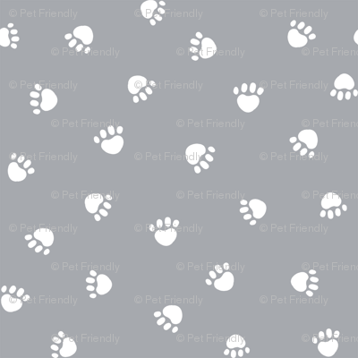 quarry grey paw print fabric, pet fabric, dog fabric, cat fabric