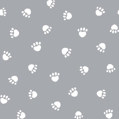 Quarry Grey Paw Print Fabric Pet Dog Cat By