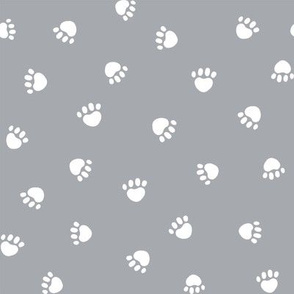 quarry grey paw print fabric, pet fabric, dog fabric, cat fabric