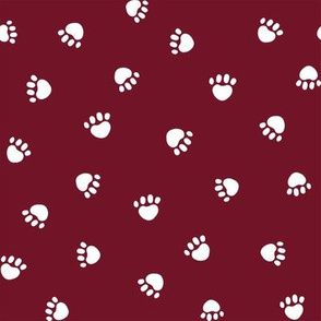 ruby red paw print fabric, pet fabric, dog fabric, cat fabric