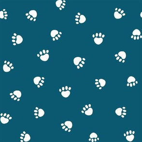 sapphire paw print fabric, pet fabric, dog fabric, cat fabric