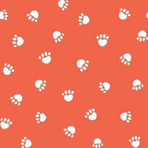 scarlet paw print fabric, pet fabric, dog fabric, cat fabric