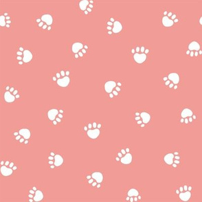 sweet pink paw print fabric, pet fabric, dog fabric, cat fabric