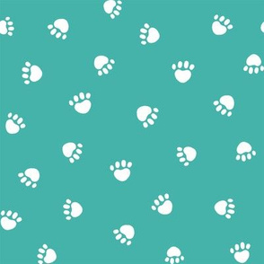 turquoise paw print fabric, pet fabric, dog fabric, cat fabric