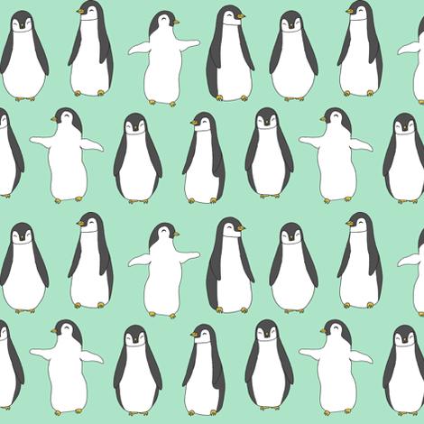 penguins // baby pingu cute mint baby penguins birds winter fabric mint birds design fabric by andrea_lauren on Spoonflower - custom fabric