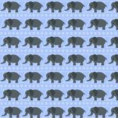 Gray Elephants on Blue