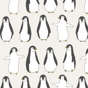 penguin // penguins pingu cute baby nursery off-white penguins fabric penguin fabric
