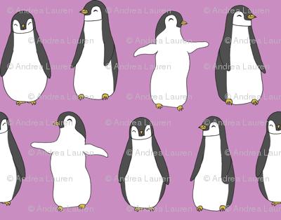 penguin // purple pingu penguins bird fabric cute pingus design fabric birds winter design