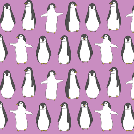 penguin // purple pingu penguins bird fabric cute pingus design fabric birds winter design fabric by andrea_lauren on Spoonflower - custom fabric