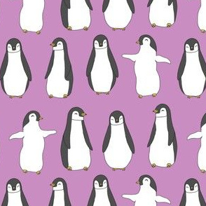 penguin // purple pingu penguins bird fabric cute pingus design fabric birds winter design