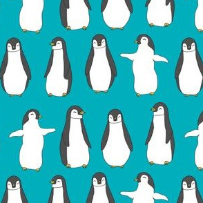 penguins // baby animals pingu penguin design winter penguins fabric