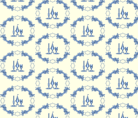 """Havdalah """"Toile,"""" Blue on Sepia fabric by anneostroff on Spoonflower - custom fabric"""