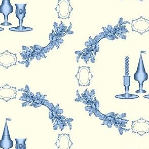 "Havdalah ""Toile,"" Blue on Sepia"
