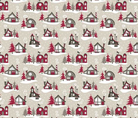 Ski Chalets (Woodland) fabric by brendazapotosky on Spoonflower - custom fabric
