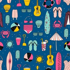 beach // summer beach balls summer flip flops ukulele surfboards andrea lauren fabric