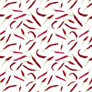 Hot peppers in red and white