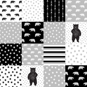 bear quilt // bw bear nursery design black and white fabric bears stars and stripes baby nursery design andrea lauren fabric