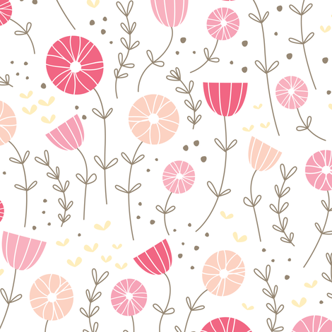 Candy Garden - pink fabric by olive&me_studios on Spoonflower - custom fabric