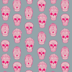 Sugar Skulls Pink and Gray