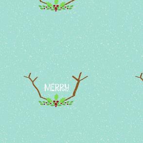 Merry Antlers  14 -seafoam snow