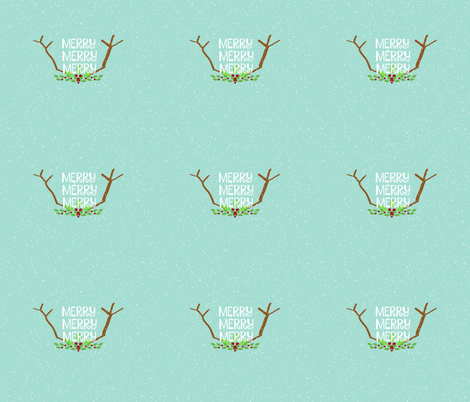 Merry 3 Antlers  14 -seafoam snow fabric by drapestudio on Spoonflower - custom fabric
