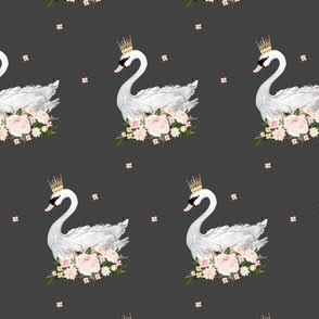 Mini Swan with Roses - Grey 2.5""