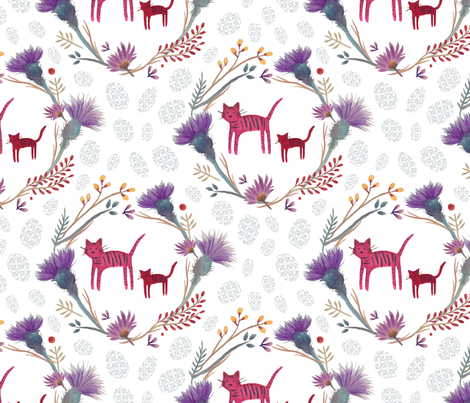 Feline and Flora fabric by theblueeyedbeaux on Spoonflower - custom fabric