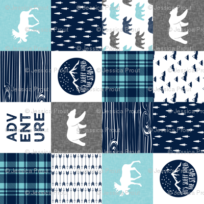 happy camper patchwork wholecloth (90) || navy and teal