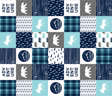 happy camper patchwork wholecloth (90) || navy and teal fabric by littlearrowdesign on Spoonflower - custom fabric