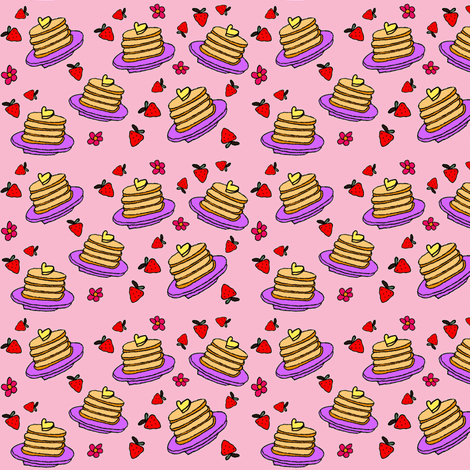 Pancakes - Small Pink fabric by onetwothreejumpshop on Spoonflower - custom fabric