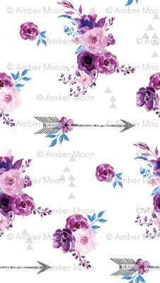 purple watercolor florals and arrows