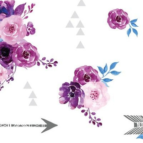 purple watercolor florals and arrows