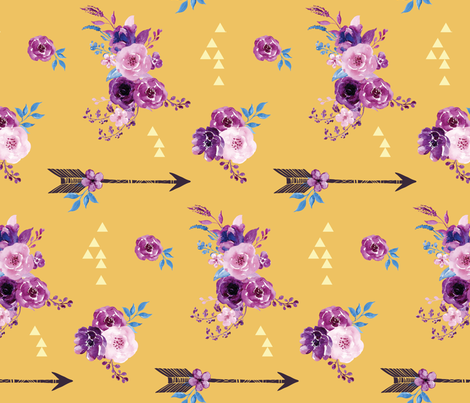 purple and gold watercolor florals and arrows fabric by amber_moon on Spoonflower - custom fabric