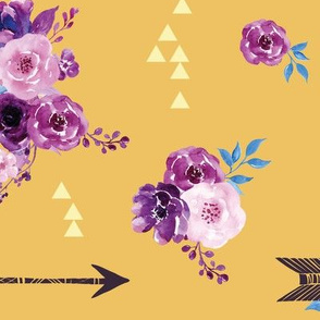 purple and gold watercolor florals and arrows