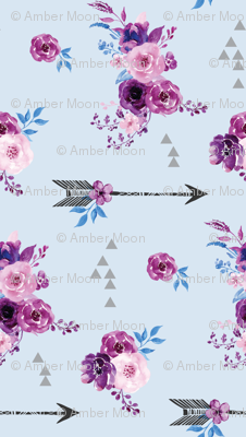 purple and blue watercolor florals and arrows