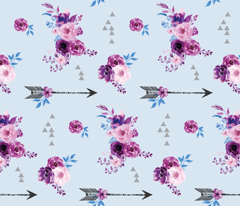 purple and blue watercolor florals and arrows fabric by amber_moon on Spoonflower - custom fabric