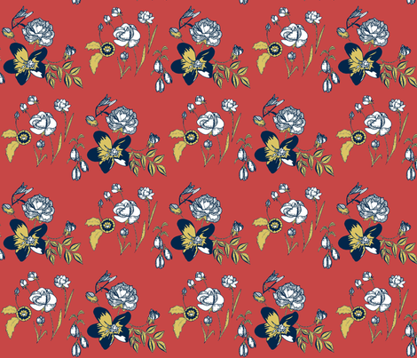 Native flowers A #C64745 fabric by caela_bee_designs on Spoonflower - custom fabric